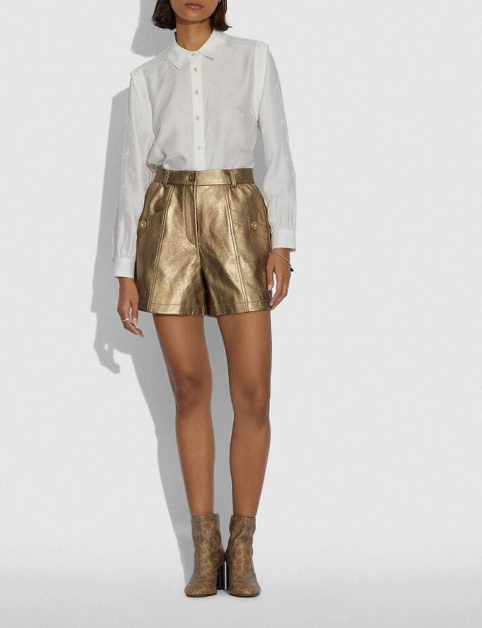 Coach Shorts Aus Metallic-Leder Pyrit Damen Kleidung Hosen & Röcke Alternative Ansicht 1