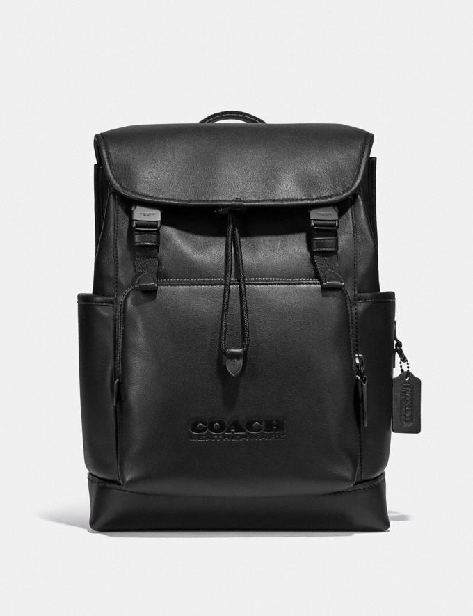 Coach League Flap Backpack Black Copper/Black New Men's New Arrivals Bags