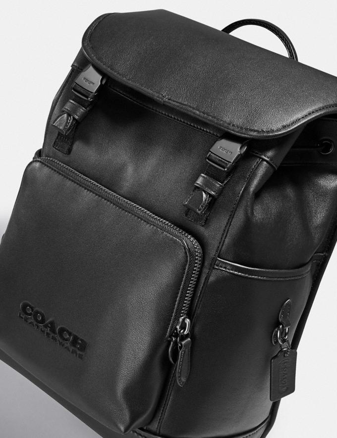 Coach League Flap Backpack Black Copper/Black  Alternate View 4
