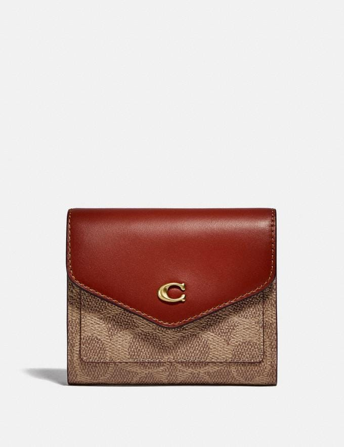 Coach Wyn Small Wallet in Colorblock Signature Canvas B4/Tan Rust