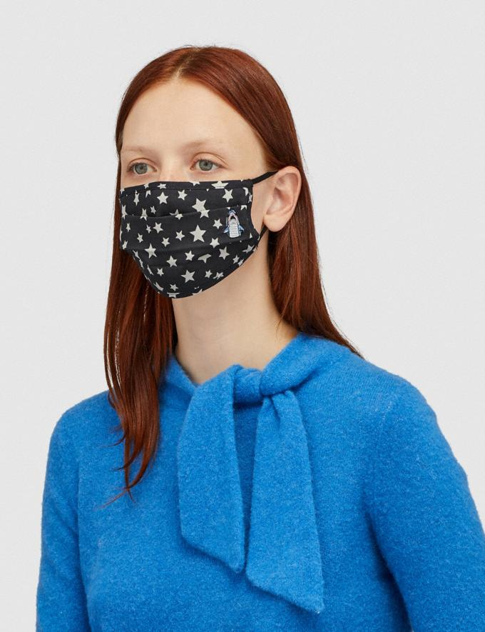Coach Sharky Face Mask With Star Print Black Women Accessories Face Masks Alternate View 1