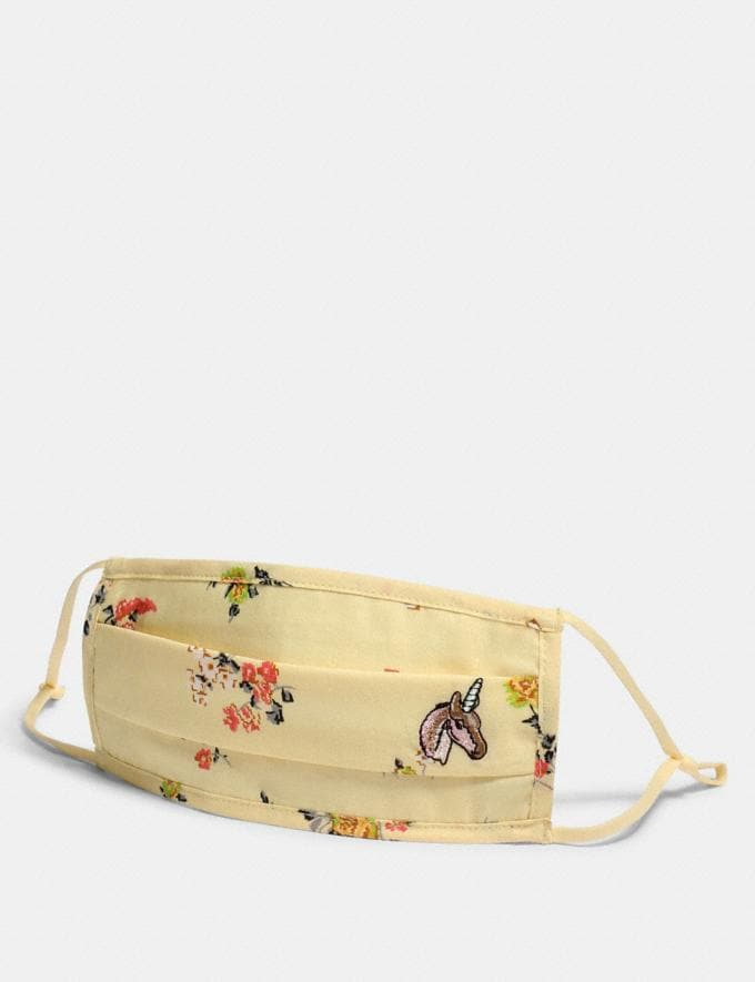 Coach Uni Face Mask With Floral Print Yellow Women Accessories Face Masks