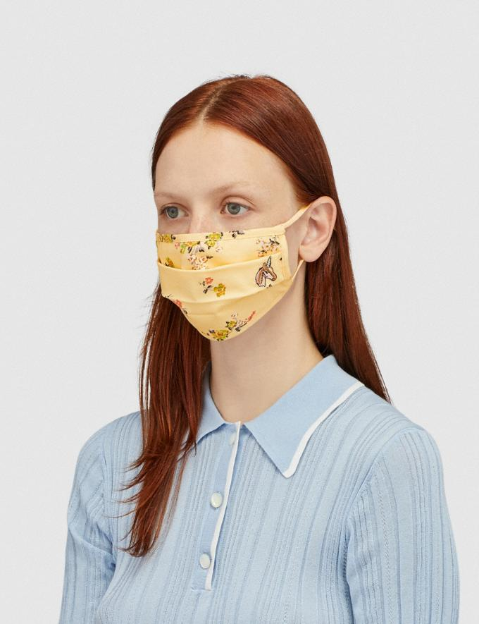 Coach Uni Face Mask With Floral Print Yellow Women Accessories Face Masks Alternate View 1