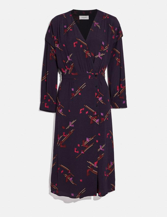 Coach Crepe Draped Midi Dress Purple/Fuschia Women Ready-to-Wear Dresses