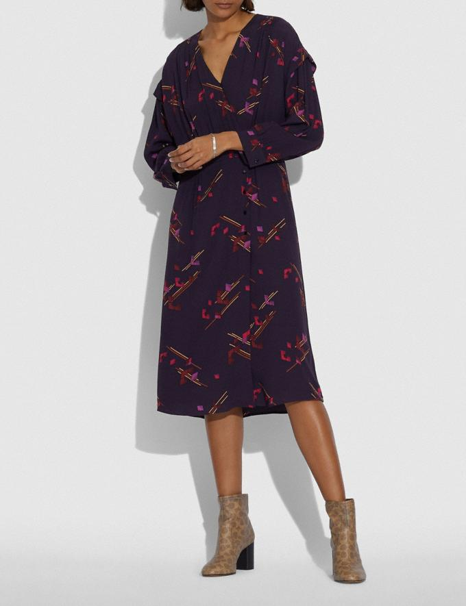 Coach Crepe Draped Midi Dress Purple/Fuschia Women Ready-to-Wear Dresses Alternate View 1