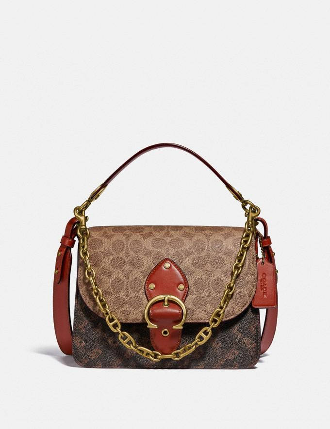 Coach Beat Shoulder Bag in Signature Canvas With Horse and Carriage Print Brass/Tan Truffle Rust New Women's New Arrivals Bags