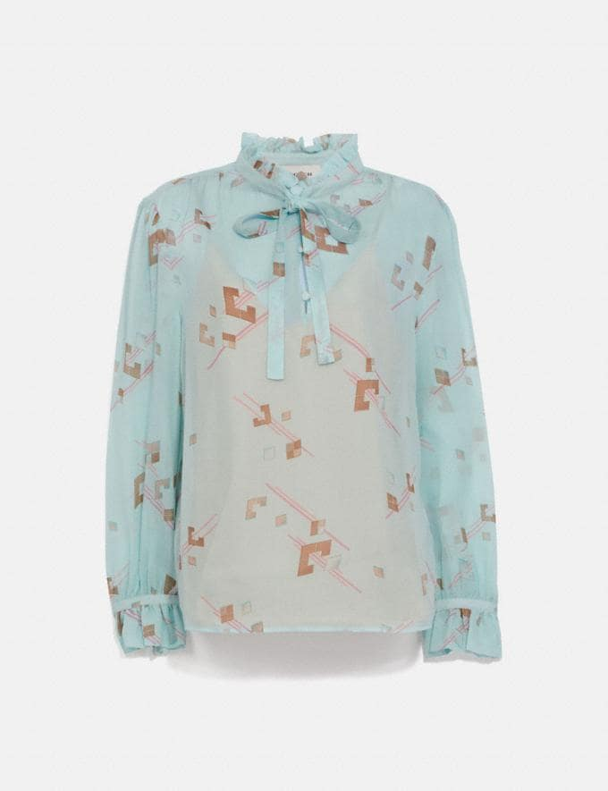 Coach Ruffle Blouse Turquoise/Pink Women Ready-to-Wear Tops & T-shirts