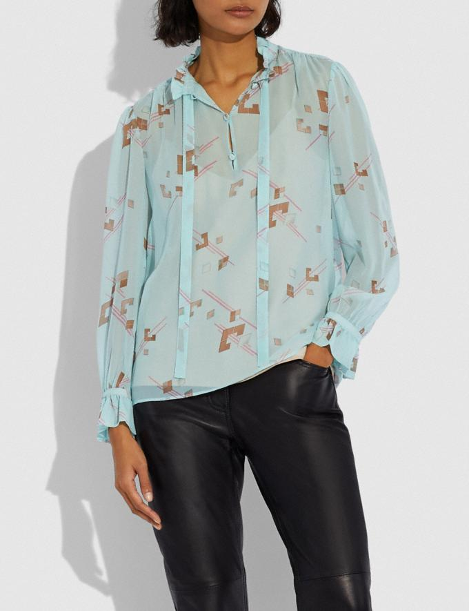 Coach Ruffle Blouse Turquoise/Pink Women Ready-to-Wear Tops & T-shirts Alternate View 1