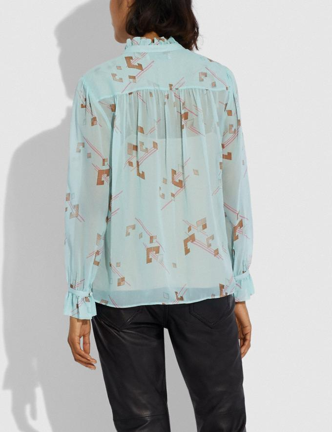 Coach Ruffle Blouse Turquoise/Pink Women Ready-to-Wear Tops & T-shirts Alternate View 2