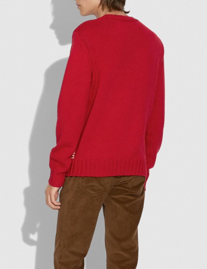 Coach Horsehead Intarsia Sweater Red Men Ready-to-Wear Tops & Bottoms Alternate View 2