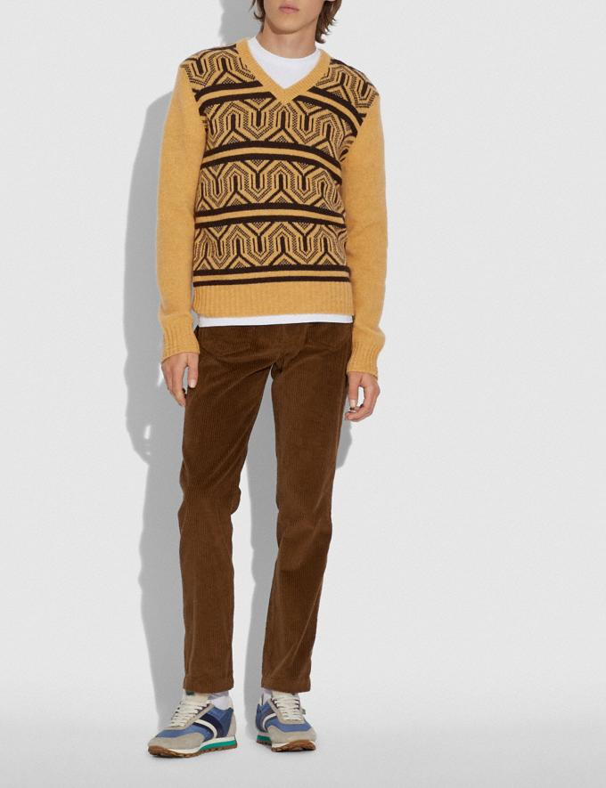 Coach Graphic Jacquard Sweater Yellow Multicolor Men Ready-to-Wear Tops & Bottoms Alternate View 1