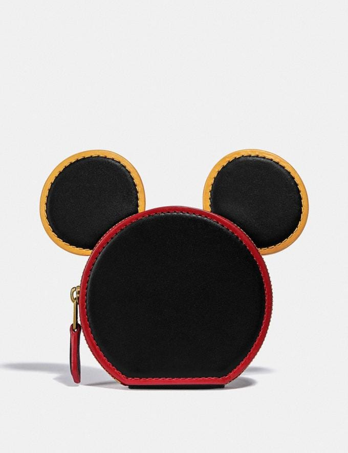 Coach Disney Mickey Mouse X Keith Haring Coin Case B4/Black Women Small Leather Goods Small Wallets