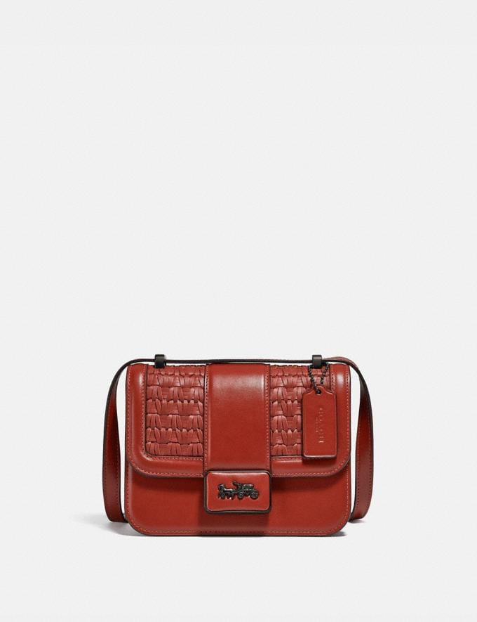Coach Alie Shoulder Bag 18 With Weaving V5/Red Sand