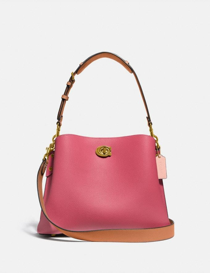 Coach Willow Shoulder Bag in Colorblock Brass/Rouge Multi New Women's New Arrivals Bags