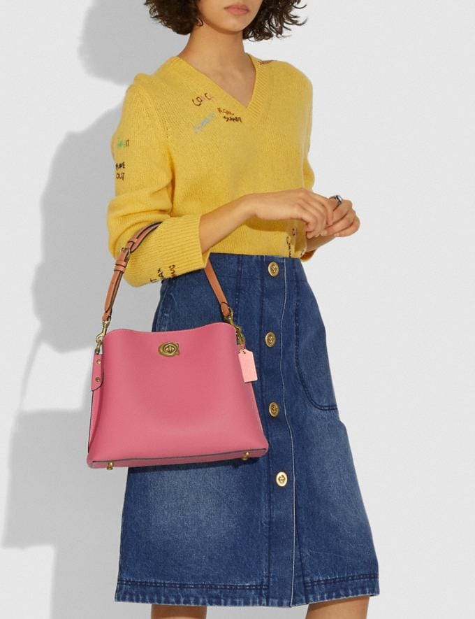 Coach Willow Shoulder Bag in Colorblock Brass/Rouge Multi New Women's New Arrivals Bags Alternate View 3
