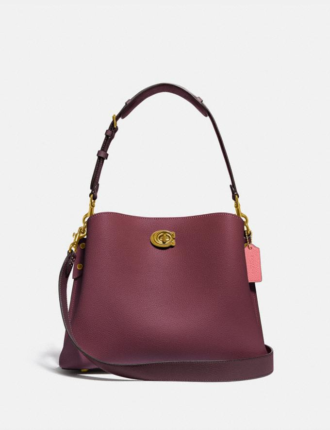 Coach Willow Shoulder Bag in Colorblock Brass/Black Cherry Multi Gifts For Her Under £500