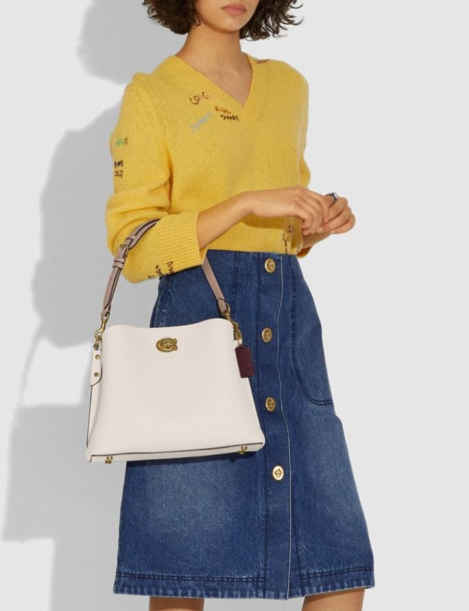 Coach Willow Shoulder Bag in Colorblock Brass/Chalk Multi New Women's New Arrivals Bags Alternate View 4