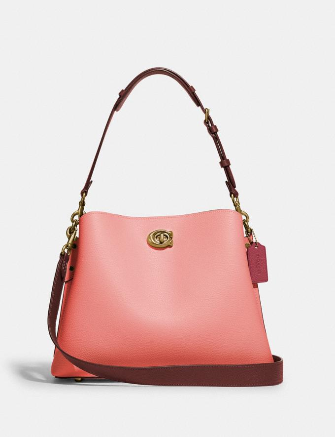 Coach Willow Shoulder Bag in Colorblock Brass/Candy Pink Multi Translations 5.1 Retail