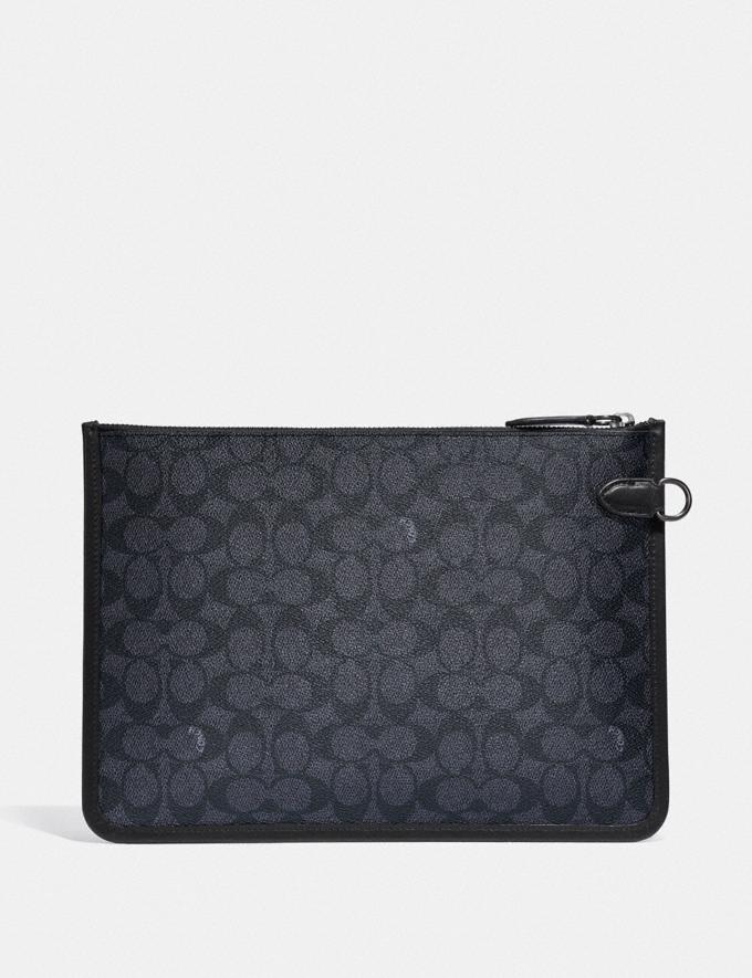 Coach Charter Pouch in Signature Canvas Charcoal DEFAULT_CATEGORY Alternate View 1