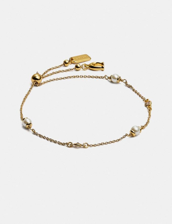 Coach Classic Crystal Pearl Slider Bracelet Gold New Women's New Arrivals Accessories