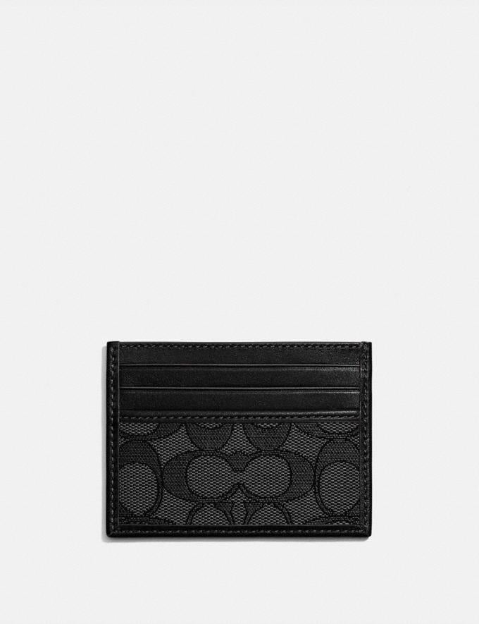 Coach Card Case in Signature Jacquard Smoke/Black New Men's New Arrivals Wallets