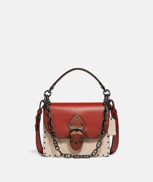 BEAT SHOULDER BAG 18 IN COLORBLOCK WITH RIVETS
