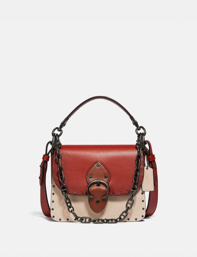 Coach Beat Shoulder Bag 18 in Colorblock With Rivets Pewter/Red Sand Ivory Multi