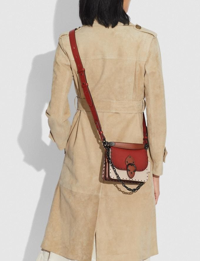Coach Beat Shoulder Bag 18 in Colorblock With Rivets Pewter/Red Sand Ivory Multi New Women's New Arrivals Bags Alternate View 3