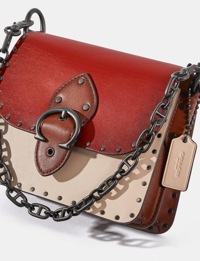 Coach Beat Shoulder Bag 18 in Colorblock With Rivets Pewter/Red Sand Ivory Multi  Alternate View 3