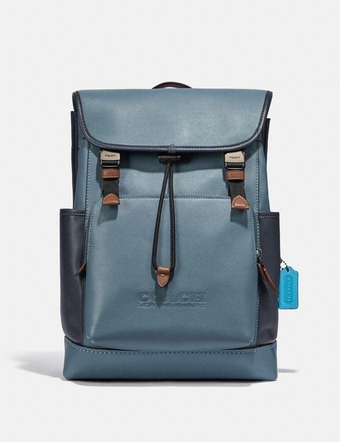 Coach League Flap Backpack in Colorblock Black Copper/Blue Quartz Multi New Men's New Arrivals Bags