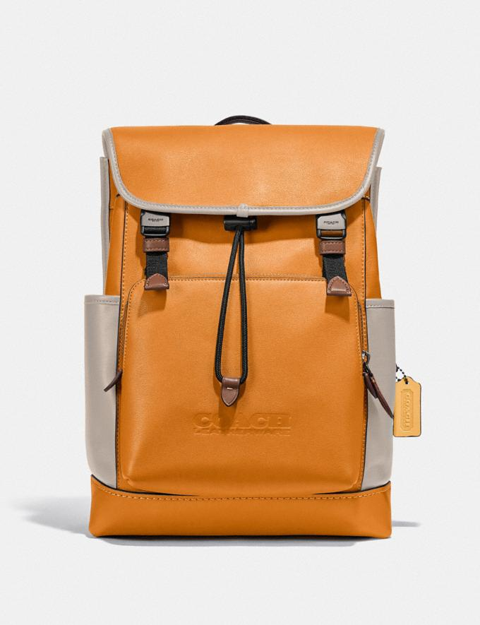 Coach League Flap Backpack in Colorblock Ji/Butterscotch Multi New Men's New Arrivals Bags