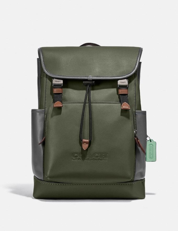 Coach League Flap Backpack in Colorblock Black Copper/Dark Shamrock Multi New Men's New Arrivals Bags