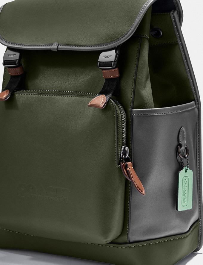 Coach League Flap Backpack in Colorblock Black Copper/Dark Shamrock Multi New Men's New Arrivals Bags Alternate View 4
