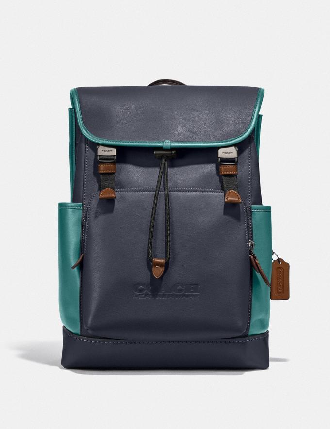 Coach League Flap Backpack in Colorblock Black Copper/Ocean Multi New Men's New Arrivals Bags