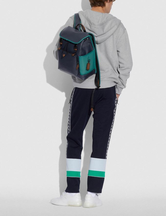 Coach League Flap Backpack in Colorblock Black Copper/Ocean Multi New Men's New Arrivals Bags Alternate View 3