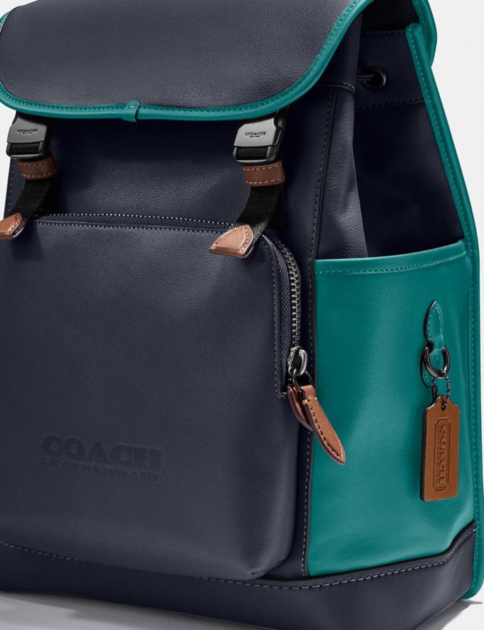 Coach League Flap Backpack in Colorblock Black Copper/Ocean Multi New Men's New Arrivals Bags Alternate View 4