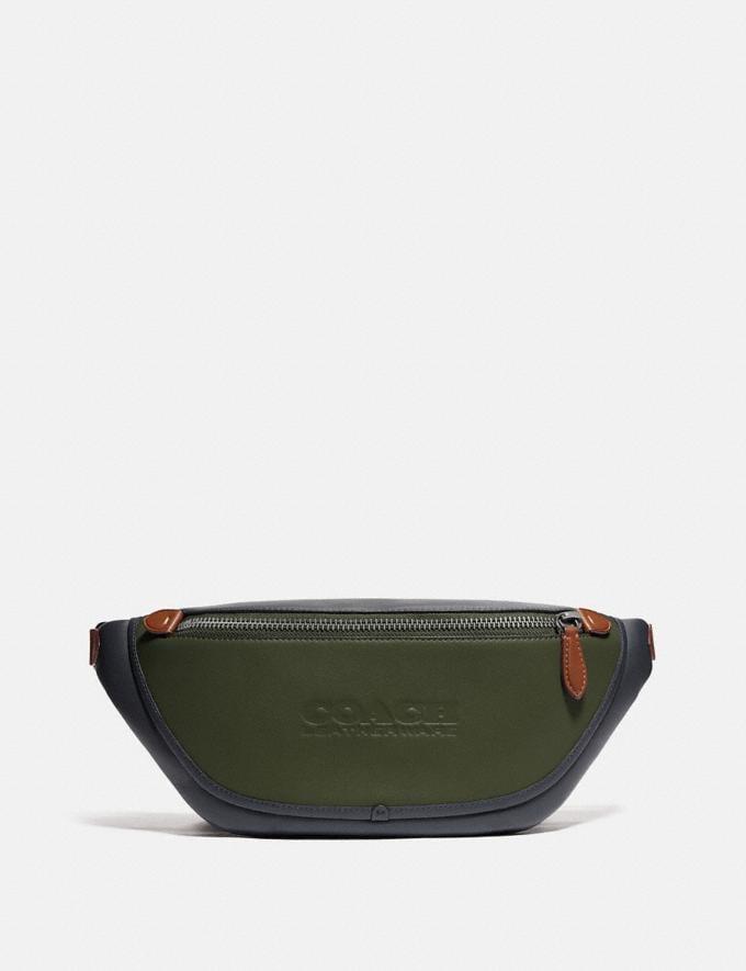 Coach League Belt Bag in Colorblock Black Copper/Dark Shamrock Multi
