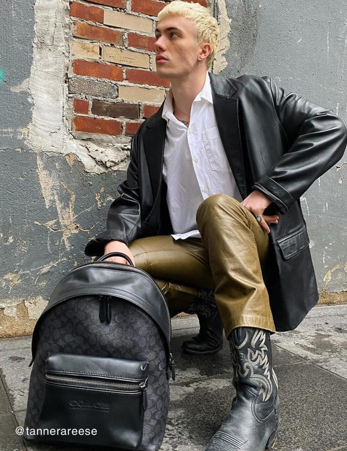 Coach Charter Backpack in Signature Canvas Black Copper/Charcoal New Men's New Arrivals Bags Alternate View 4
