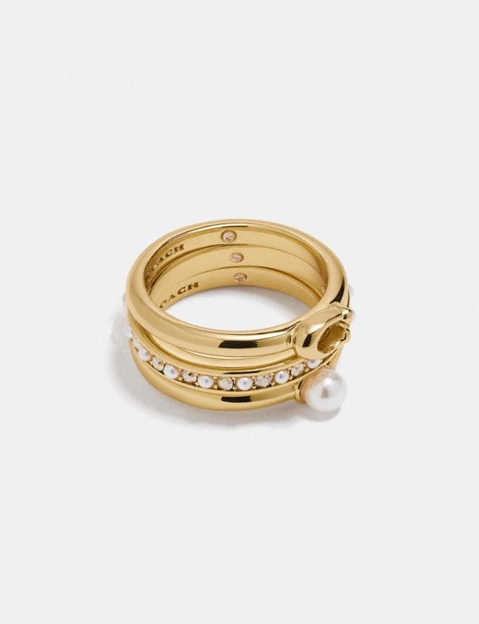 Coach Classic Crystal Pearl Ring Set Gold Translations 5.1 Retail