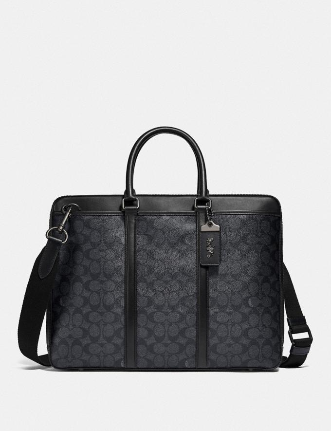 Coach Metropolitan Slim Brief in Signature Canvas Black Copper/Charcoal New Men's New Arrivals Bags