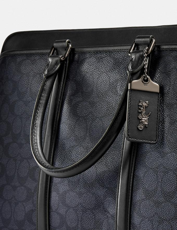 Coach Metropolitan Slim Brief in Signature Canvas Black Copper/Charcoal New Men's New Arrivals Bags Alternate View 5