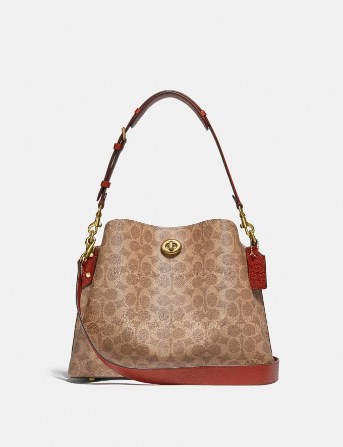 Coach Willow Shoulder Bag in Signature Canvas B4/Tan Rust Gifts For Her Under £500