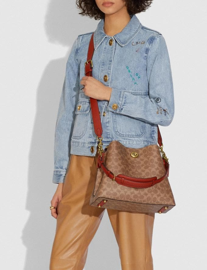 Coach Willow Shoulder Bag in Signature Canvas B4/Tan Rust Gifts For Her Under £500 Alternate View 4