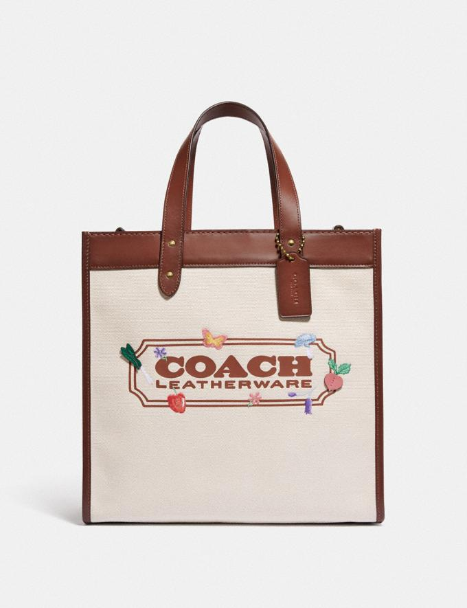 Coach Field Tote With Garden Embroidery Coach Badge B4/Natural
