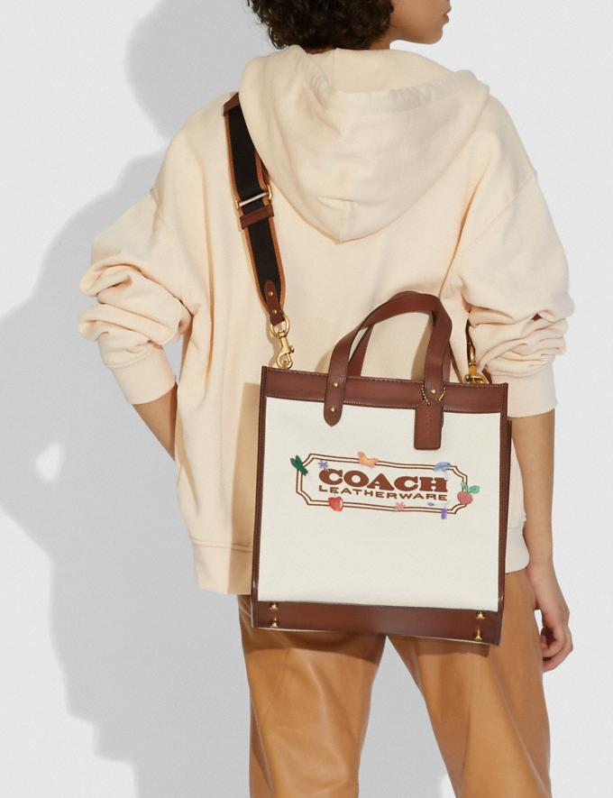 Coach Field Tote With Garden Embroidery Coach Badge B4/Natural  Alternate View 3