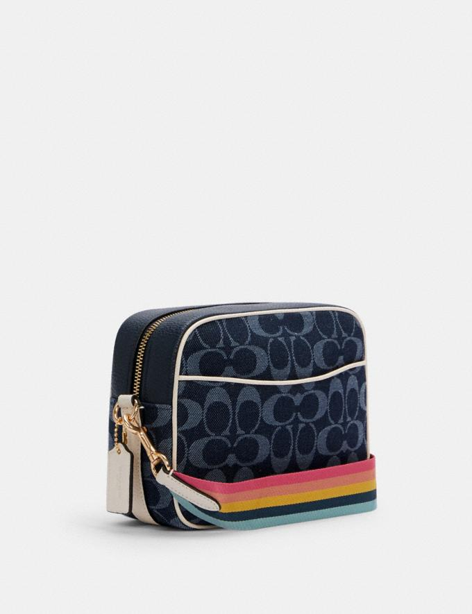 Coach Dempsey Camera Bag in Signature Jacquard With Patch Im/Denim Multi DEFAULT_CATEGORY Alternate View 1