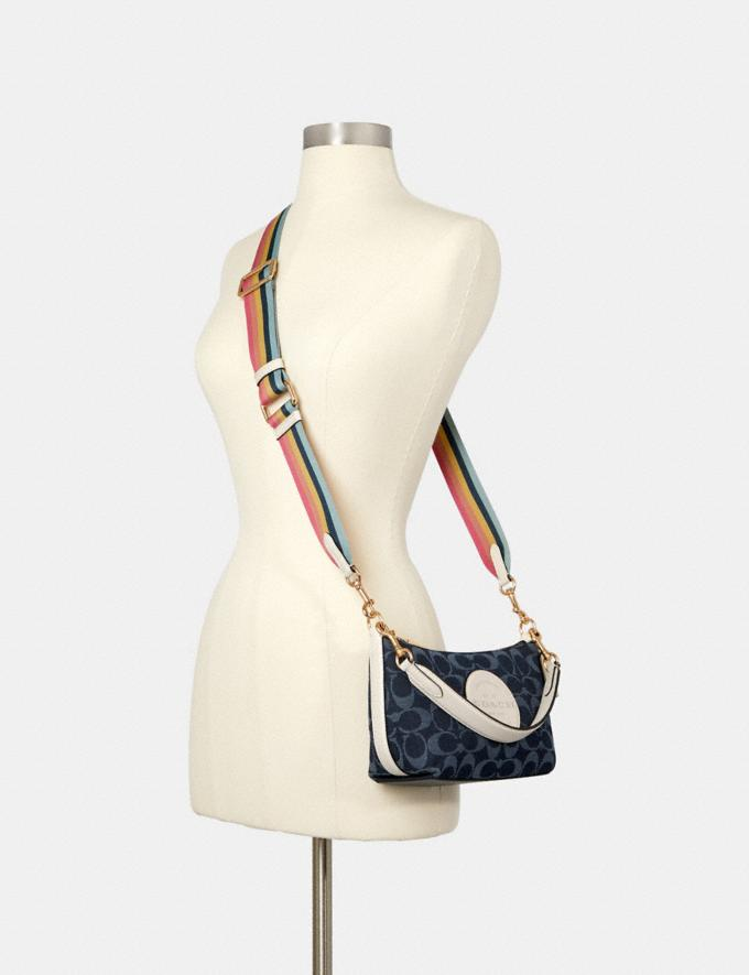 Coach Dempsey Shoulder Bag in Signature Jacquard With Patch Im/Denim Multi DEFAULT_CATEGORY Alternate View 3