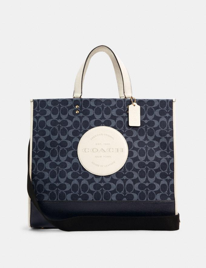 Coach Dempsey Tote 40 in Signature Jacquard With Patch Im/Denim Multi DEFAULT_CATEGORY