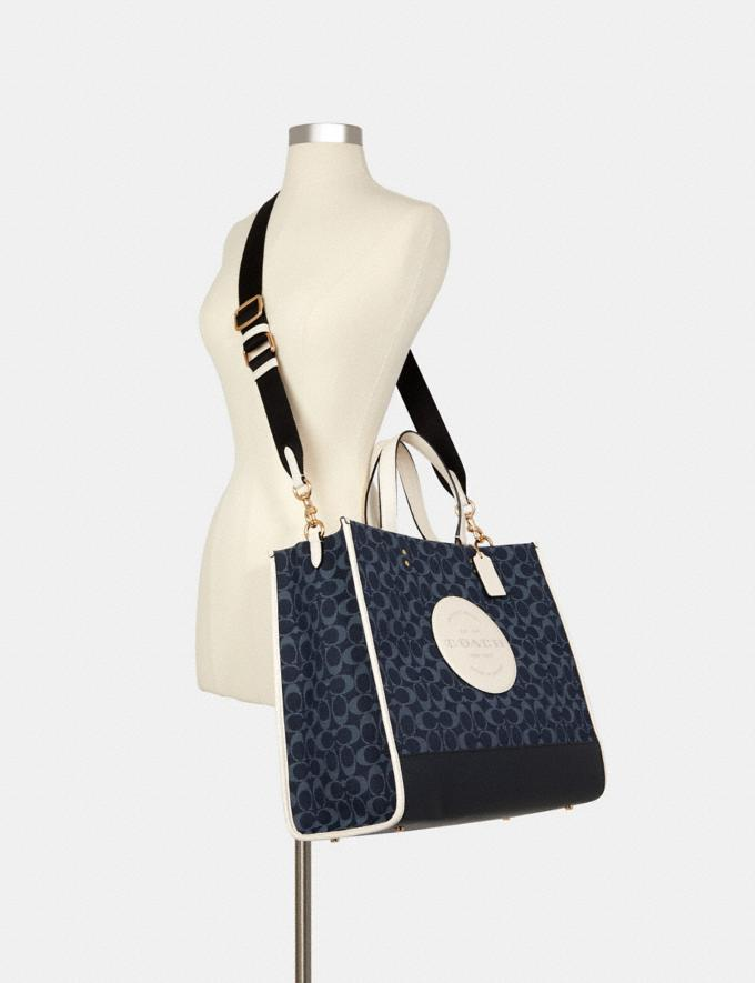 Coach Dempsey Tote 40 in Signature Jacquard With Patch Im/Denim Multi DEFAULT_CATEGORY Alternate View 3