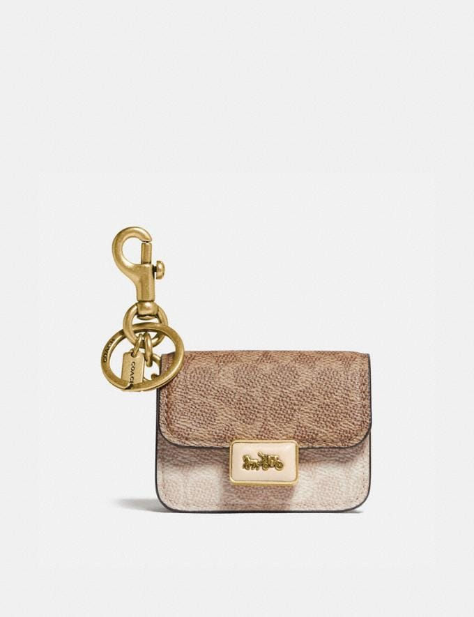 Coach Mini Alie Bag Charm in Signature Canvas Brass/Ivory/Taupe
